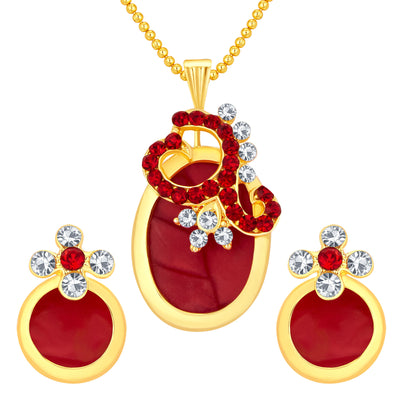 Sukkhi Fancy Gold Plated AD Pendant Set For Women