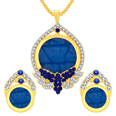 Sukkhi Glistening Gold Plated AD Pendant Set For Women