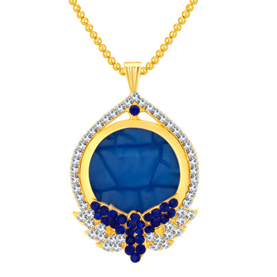 Sukkhi Glistening Gold Plated AD Pendant Set For Women-1