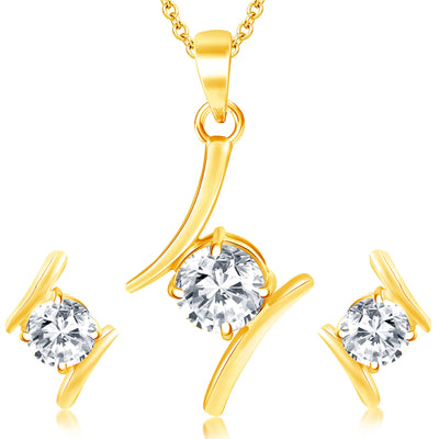 Sukkhi Modern Gold Plated Solitaire Set of 3 Ladies Ring & 1 Pendant Set Combo For Women-1