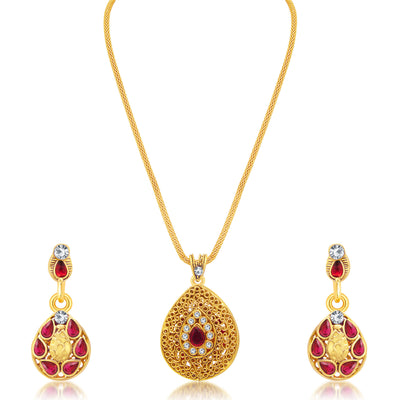 Sukkhi Modern Gold Plated AD Reversible Pendant set For Women