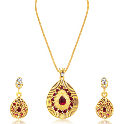 Sukkhi Modern Gold Plated AD Reversible Pendant set For Women-1