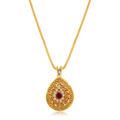 Sukkhi Modern Gold Plated AD Reversible Pendant set For Women-2