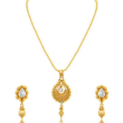 Sukkhi Artistically Gold Plated AD Pendant set For Women