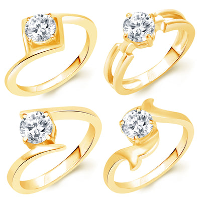 Sukkhi Stunning Gold Plated Solitaire Set of 4 Ladies Ring Combo For Women