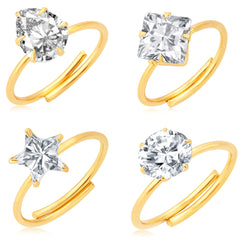 Pissara Dazzling Gold Plated Solitaire Set of 4 Ladies Ring Combo For Women