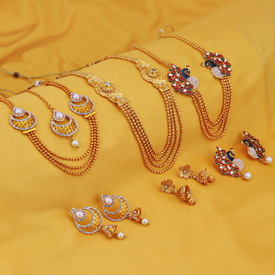 Sukkhi Fabulous Peacock Gold Plated Set of 3 Necklace Set Combo For Women