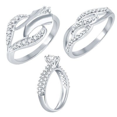 Sukkhi Exotic Rhodium Plated CZ Set of 3 Ring Combo For Women