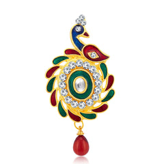 Sukkhi Modish Peacock Gold Plated AD Brooch For Women