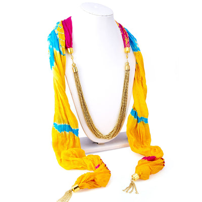 Sukkhi Finely Silk Detachable Scarf Necklace With Chain For Women