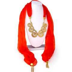 Sukkhi Cluster Chiffon Detachable Scarf Necklace With Chain For Women