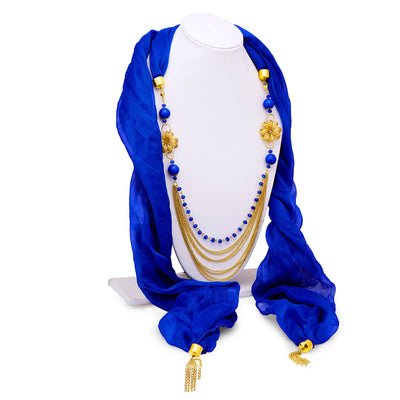Sukkhi Ritzy Chiffon Detachable Scarf Necklace With Chain For Women