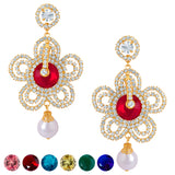 Sukkhi Moddish Gold plated AD Earring With 6 Pairs of Changeable Stone
