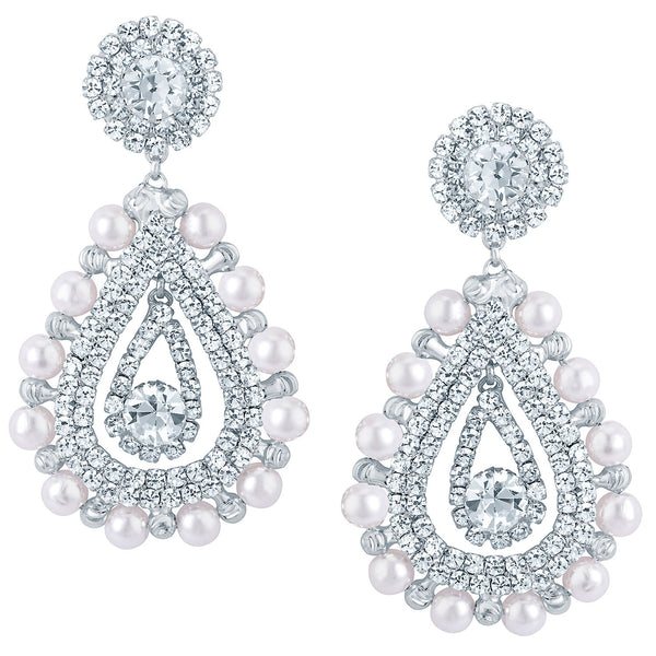 Sukkhi Estonish Rhodium plated Earrings With AD and White Pearls