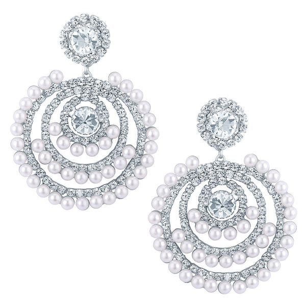 Sukkhi Elegant Rhodium plated Earrings With AD and White Pearls