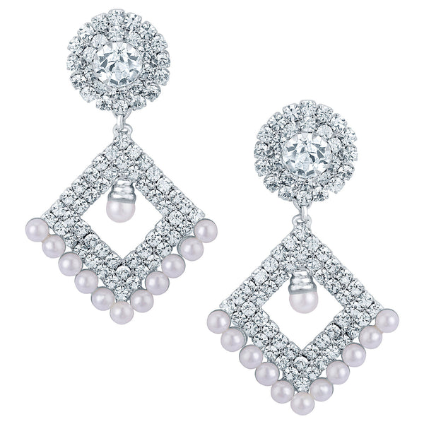 Sukkhi Fascinating Rhodium plated Earrings With AD and White Pearls