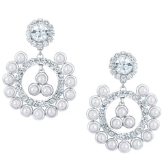 Sukkhi Attractive Rhodium plated Earrings With AD and White Pearls