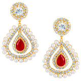 Sukkhi Enchanting Gold Plated Earrings With AD and White Pearls