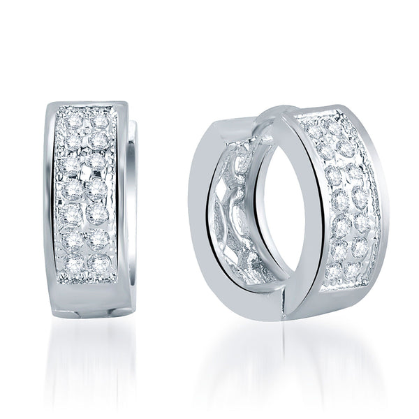 Pissara Incredible Rhodium Plated Micro Pave Setting CZ Earrings