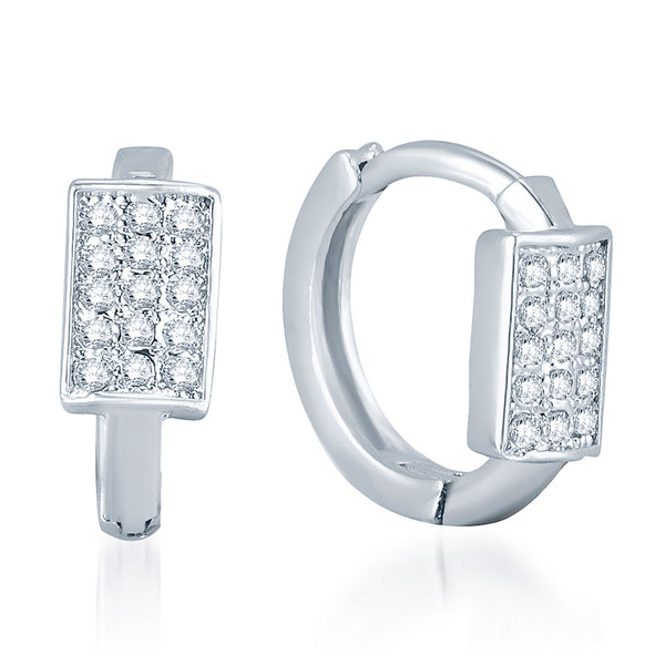 Pissara Stylish Rhodium Plated Micro Pave Setting CZ Earrings