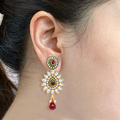 Sukkhi Amazing Gold and Rhodium Plated Kundan Stone Studded Earring