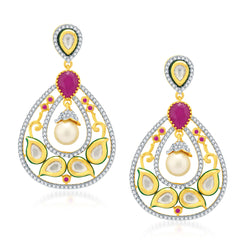 Pissara Pretty Gold Plated Kundan and CZ Fusion Earrings