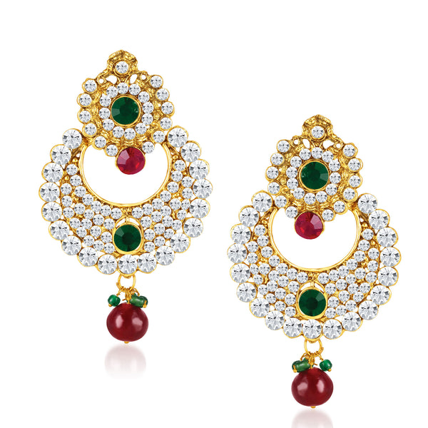 Sukkhi Chandbali Gold Plated Australian Diamond Earrings