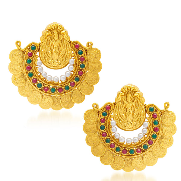 Sukkhi Excellent Gold Plated Temple Jewellery Coin Earring for Women