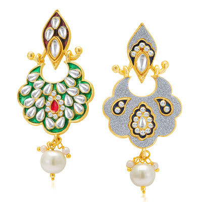 Sukkhi Sparkling Gold Plated Kundan Dual Side Earring for Women