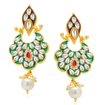 Sukkhi Sparkling Gold Plated Kundan Dual Side Earring for Women-1