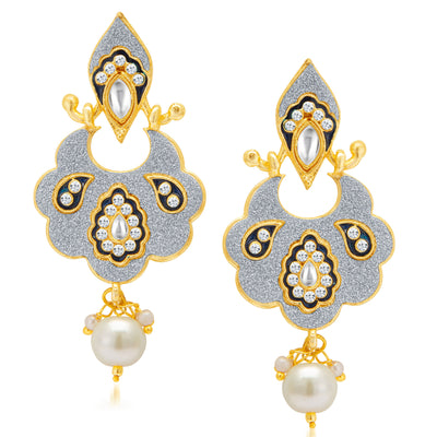 Sukkhi Sparkling Gold Plated Kundan Dual Side Earring for Women-2