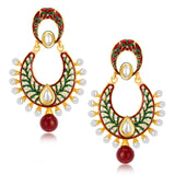 Sukkhi Artistically Gold Plated Australian Diamond Earrings