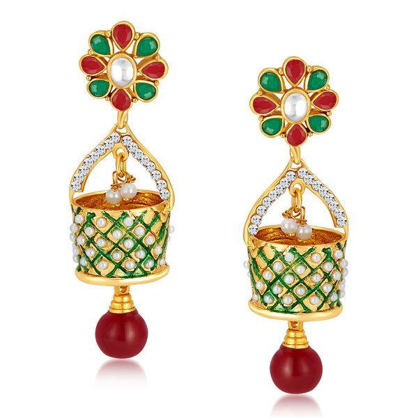 Sukkhi Astonishing Gold Plated Australian Diamond Earrings