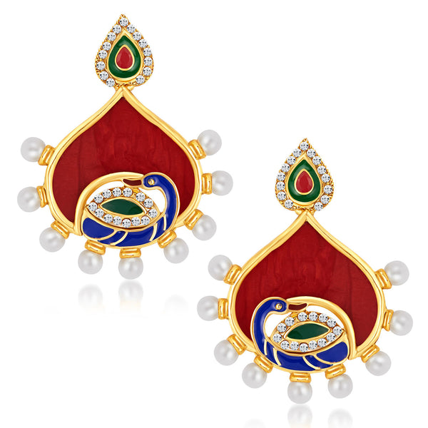 Sukkhi Beguiling Peacock Gold Plated Australian Diamond Earrings