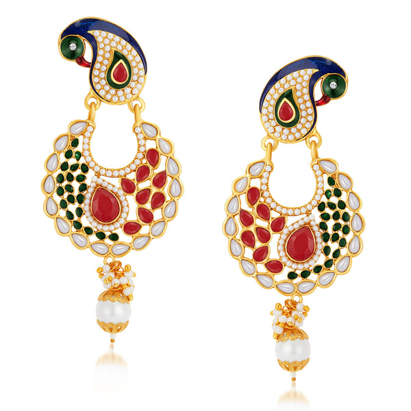 Sukkhi Elegant Peacock Gold Plated Australian Diamond Earrings