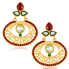 Sukkhi Cluster Gold Plated Australian Diamond Earrings