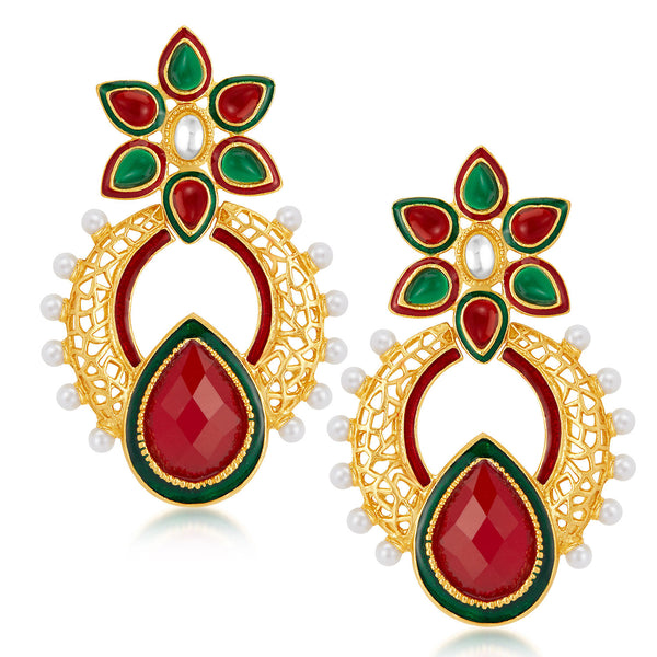 Sukkhi Creative Gold Plated Australian Diamond Earrings