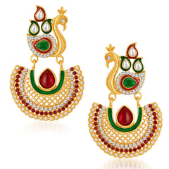 Sukkhi Eye-Catchy Peacock Gold Plated Australian Diamond Earrings