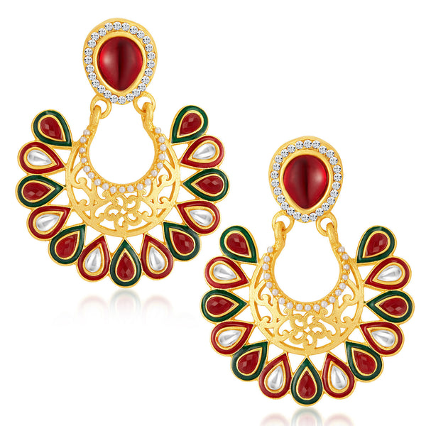 Sukkhi Delightful Gold Plated Australian Diamond Earrings