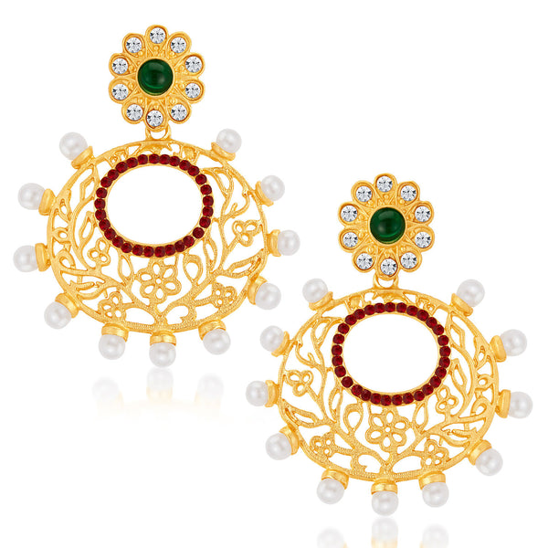 Sukkhi Delightly Gold Plated Australian Diamond Earrings