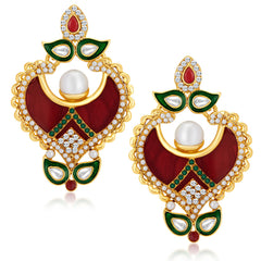 Sukkhi Ethnic Gold Plated Australian Diamond Earrings