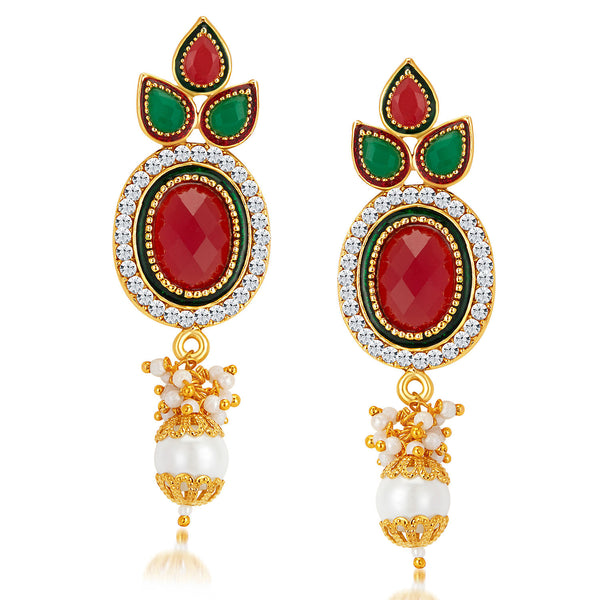 Sukkhi Excellent Gold Plated Australian Diamond Earrings