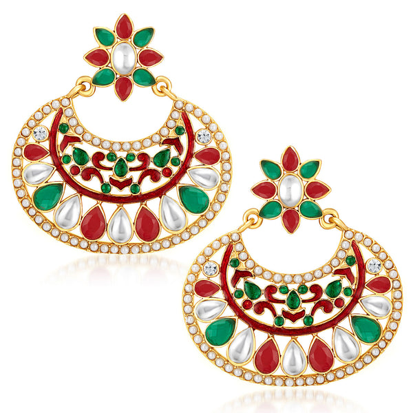 Sukkhi Exquisite Gold Plated Australian Diamond Earrings
