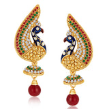 Sukkhi Peacock Gold Plated Australian Diamond Earrings