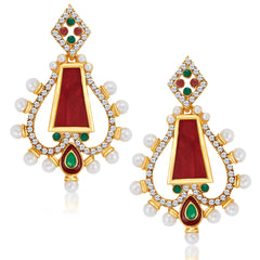 Sukkhi Dazzling Gold Plated Australian Diamond Earrings