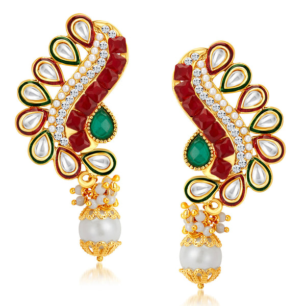 Sukkhi Fancy Peacock Gold Plated Australian Diamond Earrings