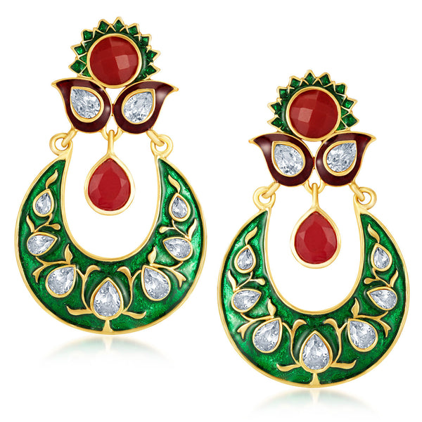 Sukkhi Fashionable Gold Plated Australian Diamond Earrings