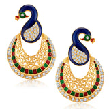 Sukkhi Glamorous Peacock Gold Plated Australian Diamond Earrings