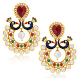 Sukkhi Gleaming Peacock Gold Plated Australian Diamond Earrings