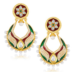 Sukkhi Glistening Gold Plated Australian Diamond Earrings